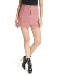 Розовая вельветовая мини-юбка