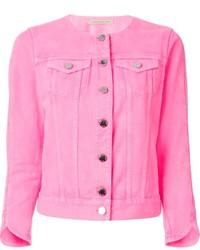 Розовая джинсовая куртка