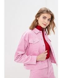 Женская розовая замшевая куртка-рубашка от Befree