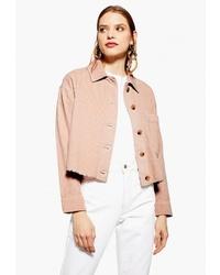 Женская розовая замшевая куртка-рубашка от Topshop