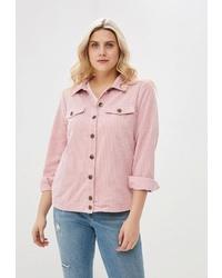 Женская розовая замшевая куртка-рубашка от Zizzi
