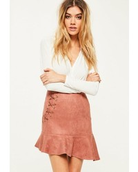 Розовая замшевая мини-юбка