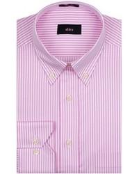 Розовая классическая рубашка в вертикальную полоску
