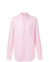 Мужская розовая классическая рубашка в вертикальную полоску от Loro Piana