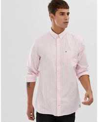 Мужская розовая классическая рубашка в вертикальную полоску от Tommy Hilfiger