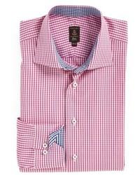 Розовая классическая рубашка в клетку