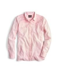 Розовая классическая рубашка в мелкую клетку