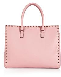 Розовая кожаная большая сумка