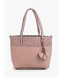 Розовая кожаная большая сумка от Dino Ricci
