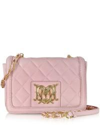 Розовая кожаная стеганая сумка через плечо