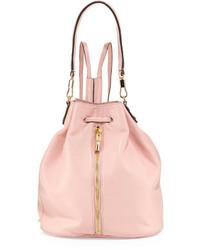 Розовая кожаная сумка-мешок