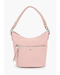 Розовая кожаная сумка-мешок от David Jones