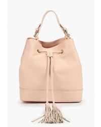 Розовая кожаная сумка-мешок от LAMANIA