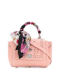 Розовая кожаная сумка-саквояж с украшением
