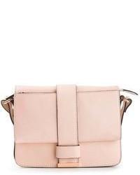 Розовая кожаная сумка-саквояж