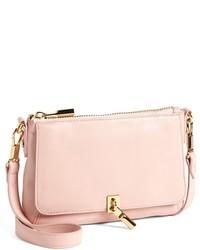 Розовая кожаная сумка через плечо