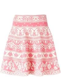 Розовая короткая юбка-солнце с цветочным принтом от Alexander McQueen