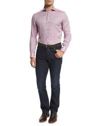 Розовая льняная рубашка с длинным рукавом
