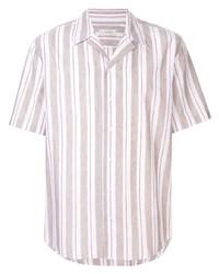 Мужская розовая льняная рубашка с коротким рукавом в вертикальную полоску от Cerruti 1881
