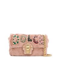 Розовая меховая сумка через плечо от Dolce & Gabbana