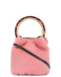 Розовая меховая сумка через плечо от Marni