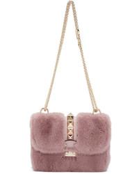 Розовая меховая сумка через плечо от Valentino
