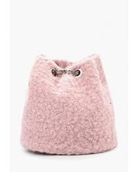 Розовая меховая сумка через плечо от Vitacci