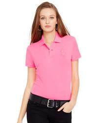 Розовая рубашка поло