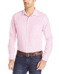 Розовая рубашка с длинным рукавом в мелкую клетку