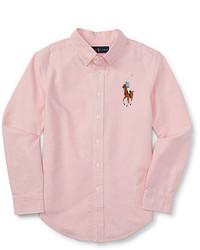 Розовая рубашка с длинным рукавом