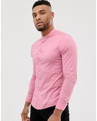 Мужская розовая рубашка с длинным рукавом от ASOS DESIGN