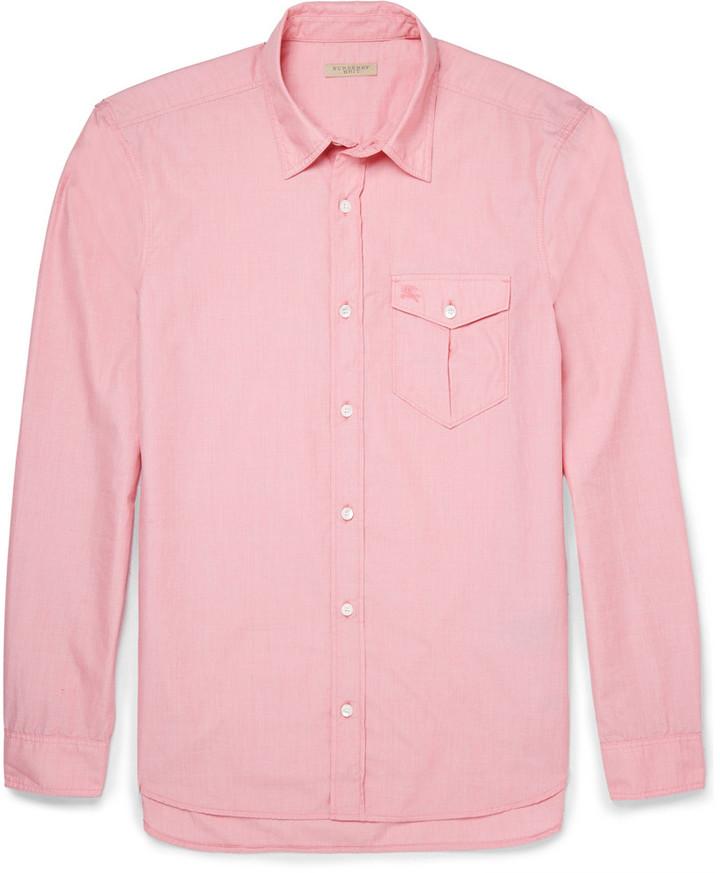 0551f250627 ... Мужская розовая рубашка с длинным рукавом от Burberry ...