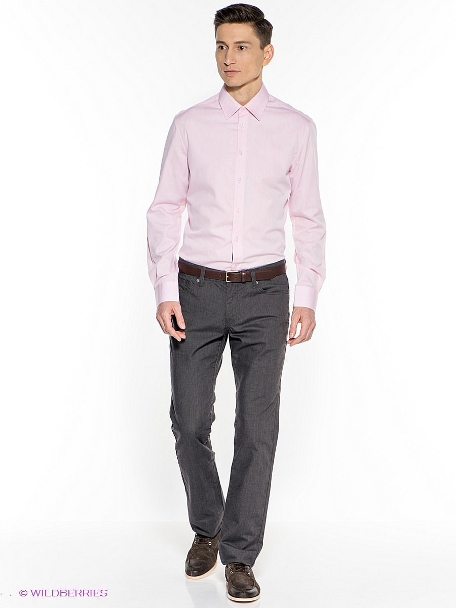 4879ae58ffb Мужская розовая рубашка с длинным рукавом от Incity