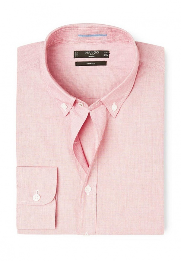 Мужская розовая рубашка с длинным рукавом от Mango Man