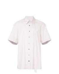 Розовая рубашка с коротким рукавом в вертикальную полоску