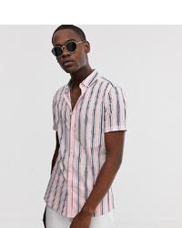 Мужская розовая рубашка с коротким рукавом в вертикальную полоску от ASOS DESIGN