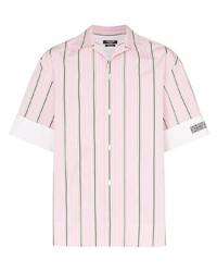 Мужская розовая рубашка с коротким рукавом в вертикальную полоску от Calvin Klein 205W39nyc