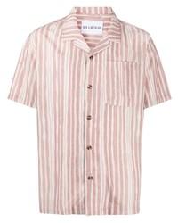 Мужская розовая рубашка с коротким рукавом в вертикальную полоску от Han Kjobenhavn