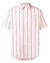 Мужская розовая рубашка с коротким рукавом в вертикальную полоску от MSGM
