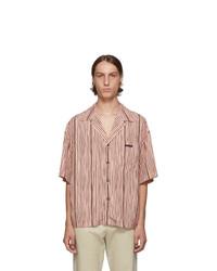 Мужская розовая рубашка с коротким рукавом в вертикальную полоску от Prada