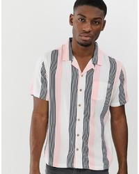Мужская розовая рубашка с коротким рукавом в вертикальную полоску от Soul Star