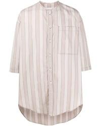 Мужская розовая рубашка с коротким рукавом в вертикальную полоску от Sunnei