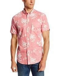 Розовая рубашка с коротким рукавом с цветочным принтом