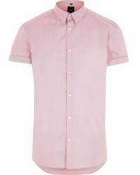 Розовая рубашка с коротким рукавом