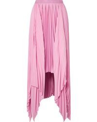 Розовая сатиновая длинная юбка
