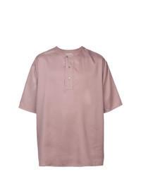 Розовая футболка на пуговицах