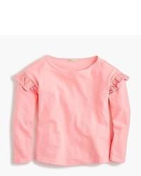 Розовая футболка с длинным рукавом с рюшами