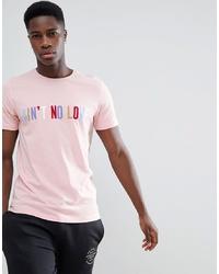 Мужская розовая футболка с круглым вырезом с принтом от Jack & Jones