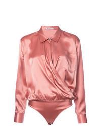 Розовая шелковая блузка с длинным рукавом