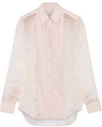 Розовая шелковая классическая рубашка